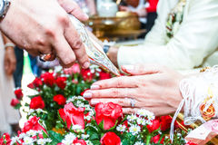 Wedding. Watering trumpet wedding ceremony of Thailand Royalty Free Stock Image