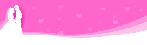 Wedding web header / banner. Man and woman in love looking each other on pink / purple background Website header / banner Stock Image