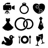 Wedding web and mobile logo icons collection stock illustration