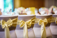Wedding. Wedding chairs in row decorated with golden yellow colo Royalty Free Stock Images
