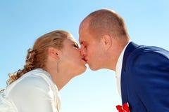 Wedding day happy couple and kissing. Wedding. Wedding day happy couple. Kiss and hug each other Stock Photography