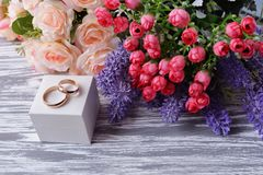 Wedding wedding gold rings on a white box for newlyweds Royalty Free Stock Photography