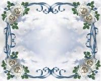 Wedding weiße Roseeinladung Lizenzfreie Stockfotografie