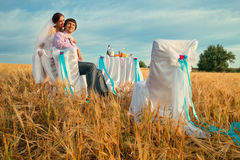 Wedding on the wheat field Royalty Free Stock Photo