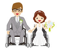 Wedding wheelchair couple Royalty Free Stock Photo
