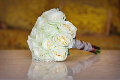 Wedding white bouquet on the table Stock Image