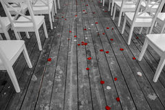 Wedding white chairs aisle with red rose petals on the wooden floor royalty free stock photography