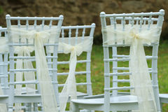 Wedding white chairs Royalty Free Stock Images