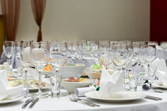 Wedding white diner table Royalty Free Stock Images