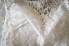 Wedding white dress. Detail of a white beautiful wedding dress Royalty Free Stock Photos