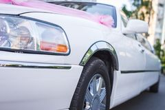Wedding white limousine Royalty Free Stock Photo