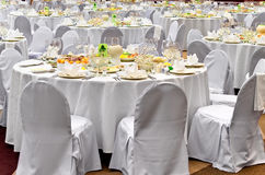 Wedding white reception place ready for guests stock photo