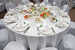 Wedding white round diner table Stock Photos