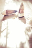 Wedding white shoes Royalty Free Stock Photos