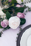 The wedding will be of white and purple roses Stock Photos