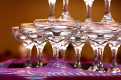 Wedding Wine Glasses. Arranged on banquet table Royalty Free Stock Images