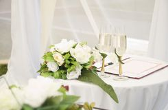 Wedding wineglass with flowers Royalty Free Stock Photo