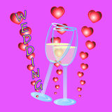 Wedding wineglass. Funny wedding wineglass  with hearts Royalty Free Stock Photography