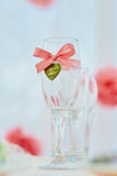 Wedding wineglass in on table in coral color. Wedding ceremony table with decored wineglass in marine style in coral color Royalty Free Stock Photo