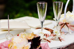 Wedding wineglasses Royalty Free Stock Images