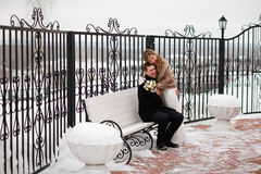 Wedding in the winter. Royalty Free Stock Images