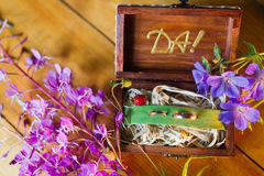 Wedding wood box Royalty Free Stock Photography