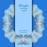 Wedding wreath frame design. Winter frozen glass background. Text place. stock illustration