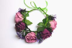 Free Wedding Wreath From Artificial Flowers Tender Handmade Stock Photos - 114170163