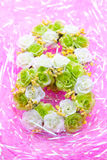 Wedding wreath on pink background Stock Photography