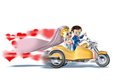 Wedding yellow sidecar. 3d illustration, wedding yellow sidecar Royalty Free Stock Image