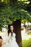 Wedding. Young beautiful bride in white flying dress standing ne Stock Images