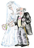Wedding of young bride and old groom. Comic illustration Royalty Free Stock Photography