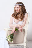 Wedding. Young Gentle Quiet Bride in Classic White Veil Looking Away Stock Photos