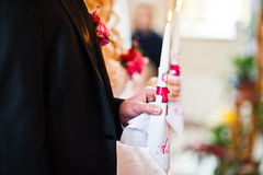 Weddings candle at hands Royalty Free Stock Photo