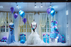 Weddings dress shop window Royalty Free Stock Images