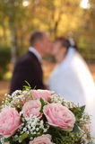 Weddings flowers , fiancee and fiance. Bouquet, bride and groom. Focus on the bouquet Stock Photo
