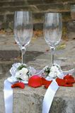 Weddings glasses for champagne Royalty Free Stock Photos