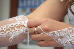 Weddings gloves Royalty Free Stock Photos