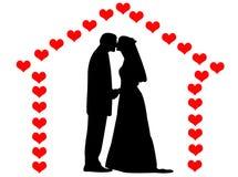 Weddings on a hearts house Stock Image