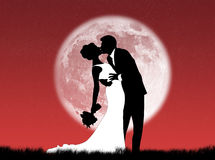 Weddings in the moon. Bride and groom kissing in the moon Royalty Free Stock Photo