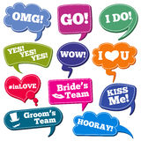 Weddings phrases in speech bubbles vector photo props set. Color speech bubbles with phrases for wedding illustration Royalty Free Stock Photo