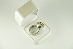 Weddings rings. Are in a white box Stock Photos