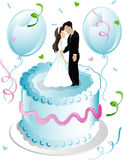 Weddng cake and balloons Stock Images