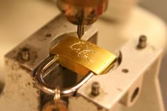 Weddng Lock Engraving Stock Photography