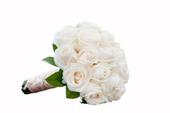 Weddong bouquet with white roses isolated on white background Stock Photography