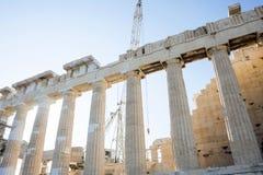Wederopbouw en behoud van Parthenon Stock Foto's