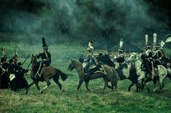 Wederopbouw van de historische slag tussen de de Rus en troepen van Napoleon van de Russische stad van Maloyaroslavets Royalty-vrije Stock Foto
