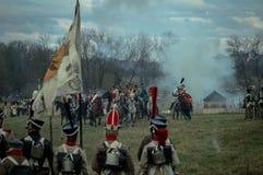 Wederopbouw van de historische slag tussen de de Rus en troepen van Napoleon van de Russische stad van Maloyaroslavets Stock Afbeelding