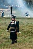 Wederopbouw van de historische slag tussen de de Rus en troepen van Napoleon van de Russische stad van Maloyaroslavets Stock Fotografie