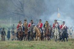 Wederopbouw van de historische slag tussen de de Rus en troepen van Napoleon van de Russische stad van Maloyaroslavets Royalty-vrije Stock Foto's